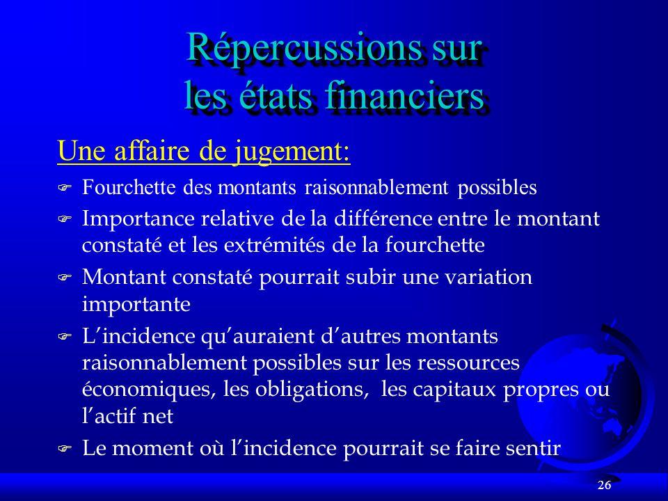 Répercussions sur les états financiers