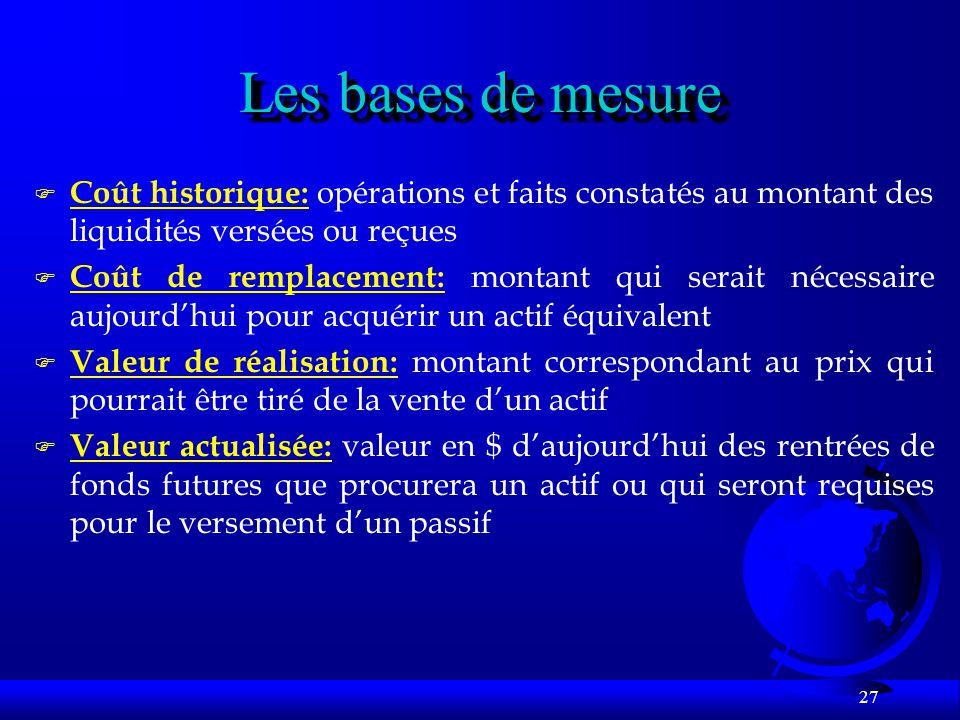 Les bases de mesure Coût historique: opérations et faits constatés au montant des liquidités versées ou reçues.