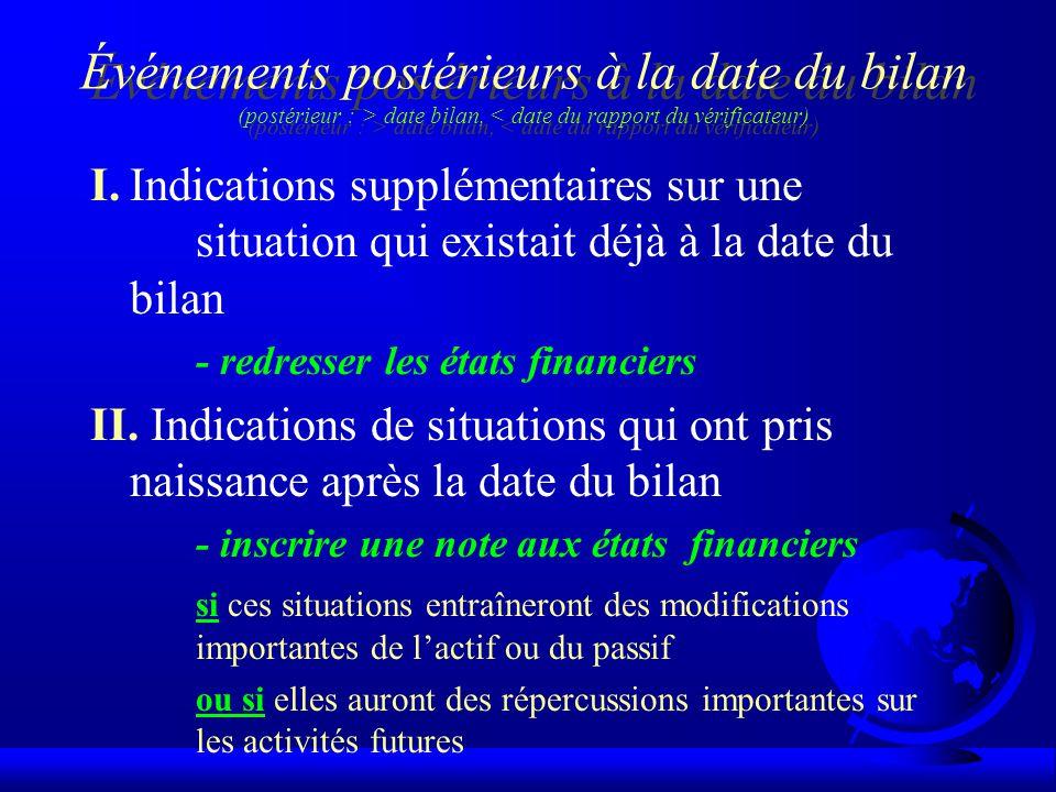 Événements postérieurs à la date du bilan (postérieur : > date bilan, < date du rapport du vérificateur)