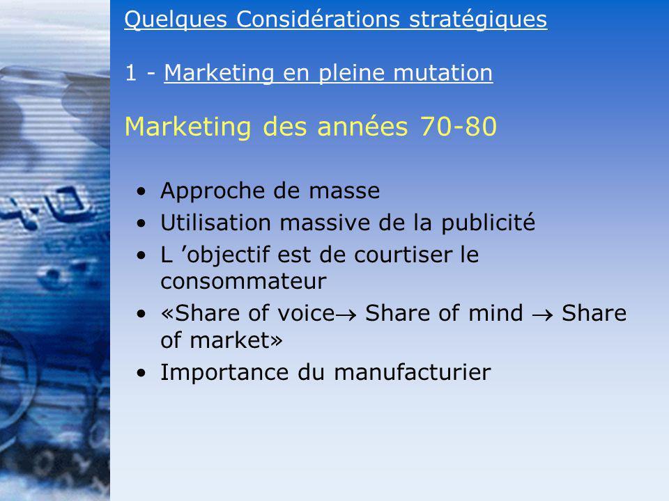 Marketing des années 70-80 Quelques Considérations stratégiques