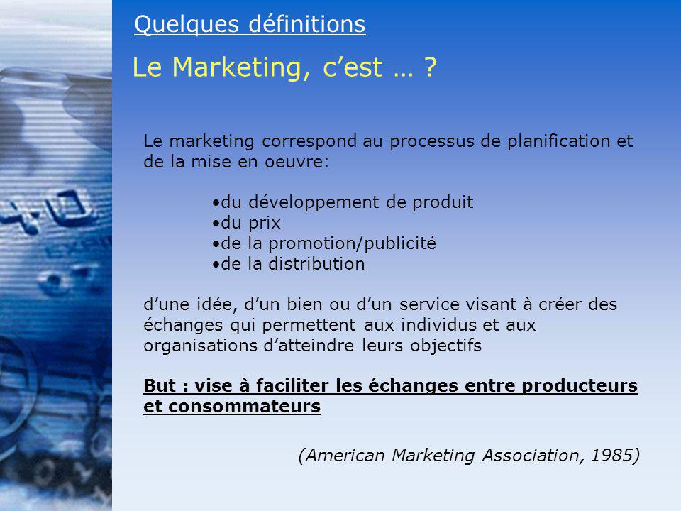 Le Marketing, c'est … Quelques définitions