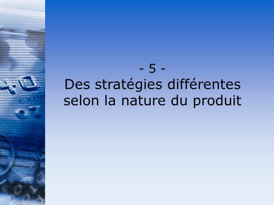 Des stratégies différentes selon la nature du produit