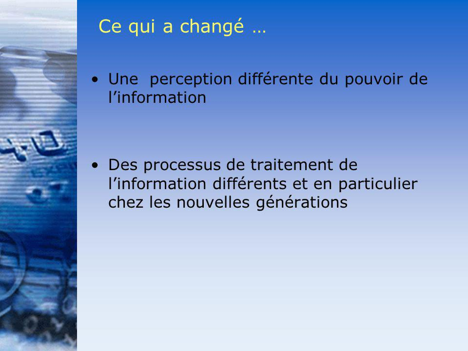 Ce qui a changé … Une perception différente du pouvoir de l'information.