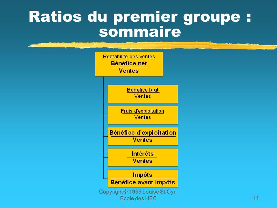 Ratios du premier groupe : sommaire