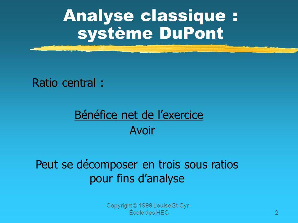 Analyse classique : système DuPont