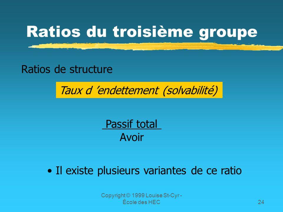 Ratios du troisième groupe