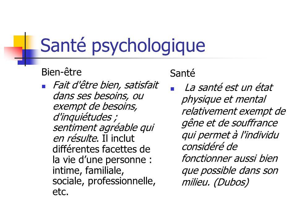 Santé psychologique Bien-être