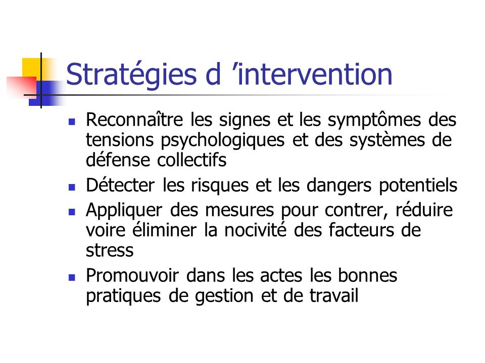 Stratégies d 'intervention