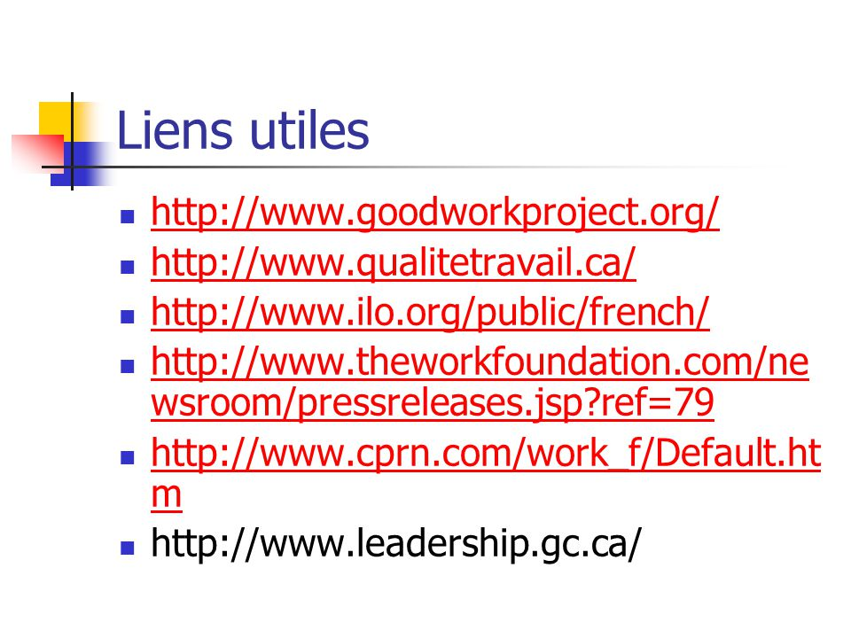 Liens utiles http://www.goodworkproject.org/
