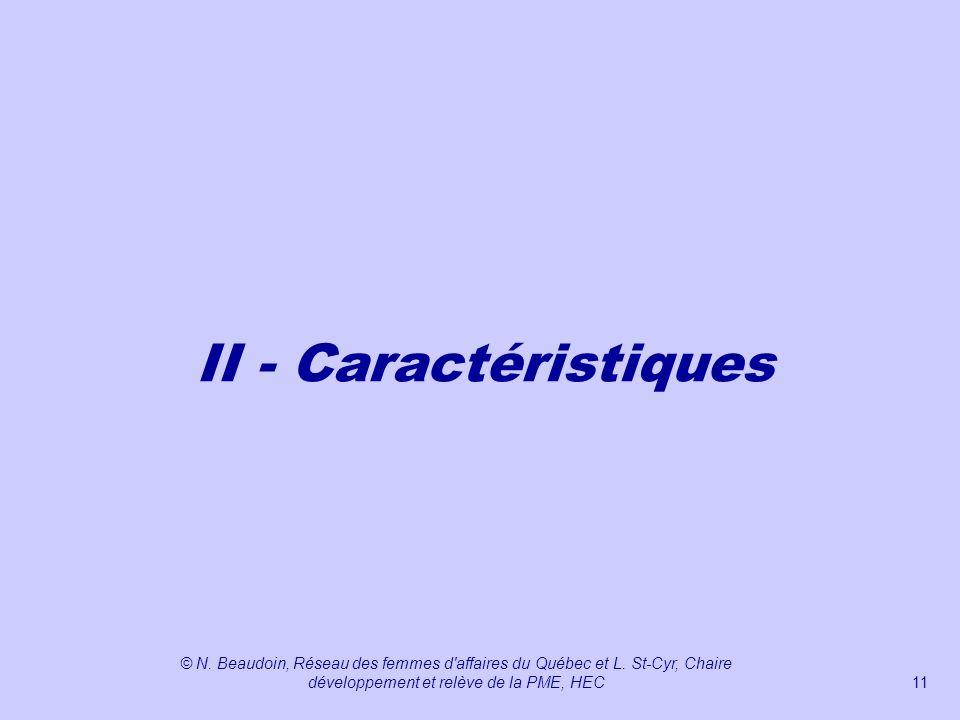 II - Caractéristiques © N. Beaudoin, Réseau des femmes d affaires du Québec et L.