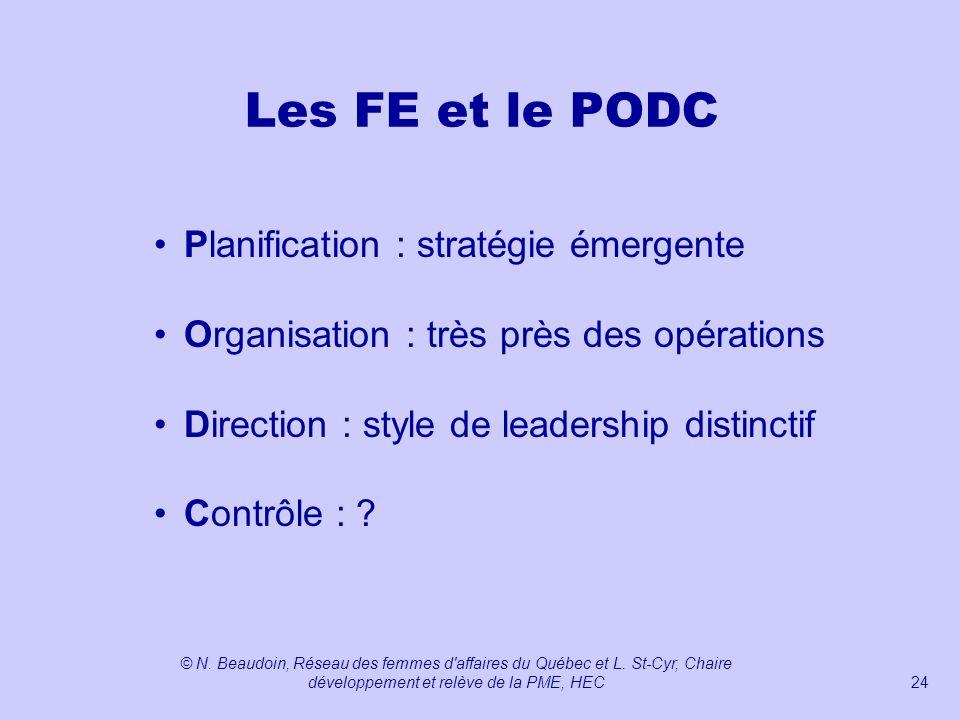 Les FE et le PODC Planification : stratégie émergente