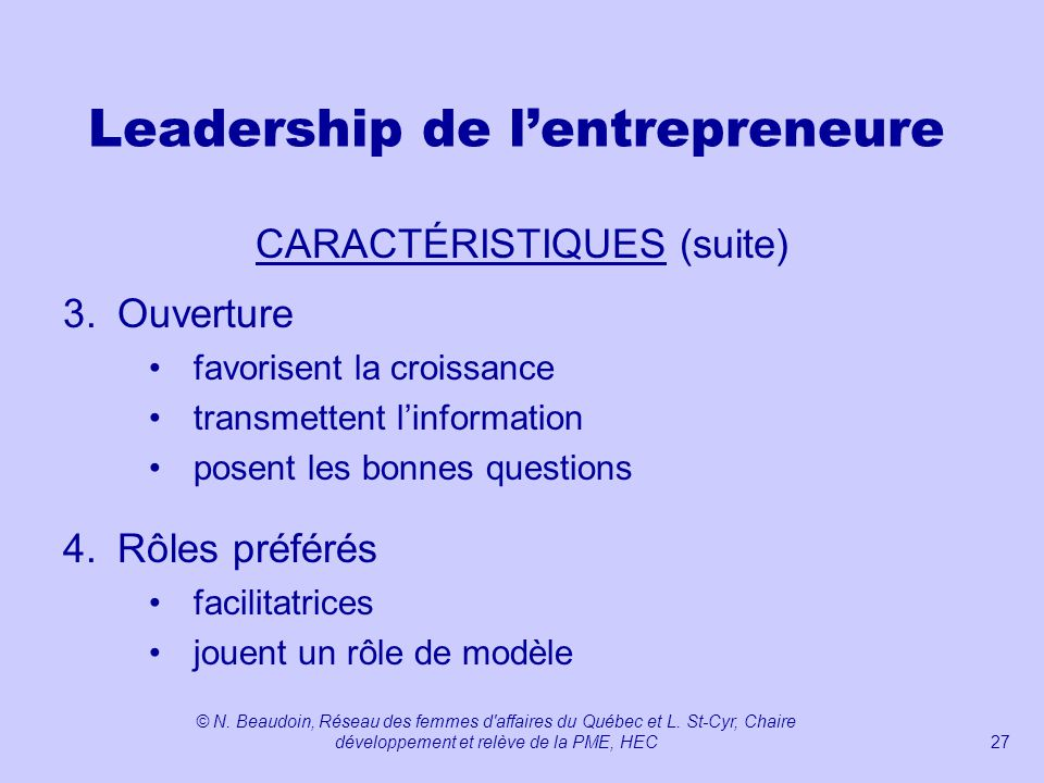Leadership de l'entrepreneure
