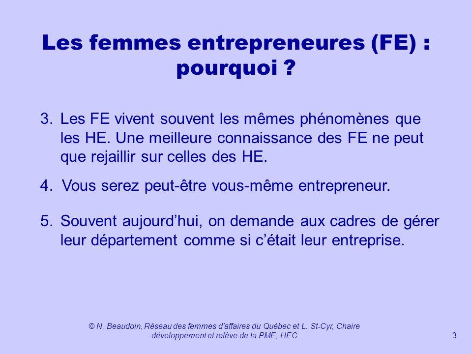Les femmes entrepreneures (FE) : pourquoi