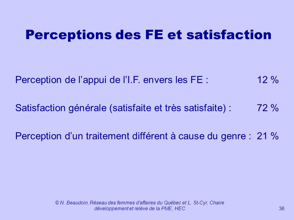 Perceptions des FE et satisfaction