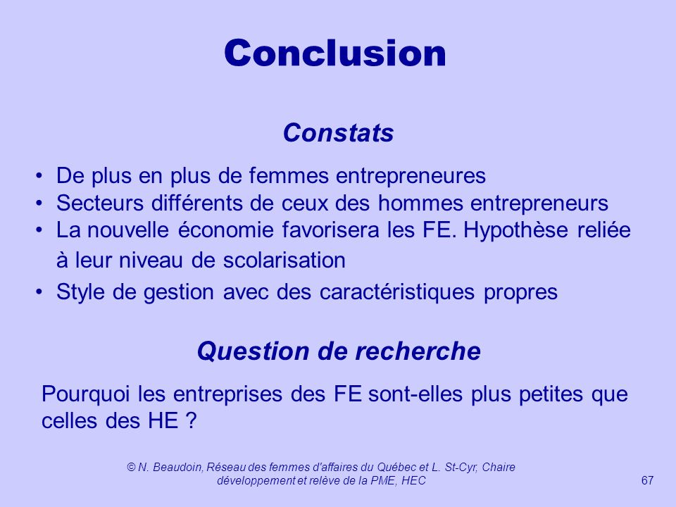 Conclusion Constats Question de recherche
