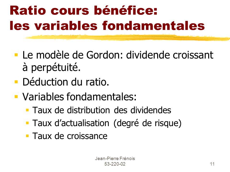 Ratio cours bénéfice: les variables fondamentales
