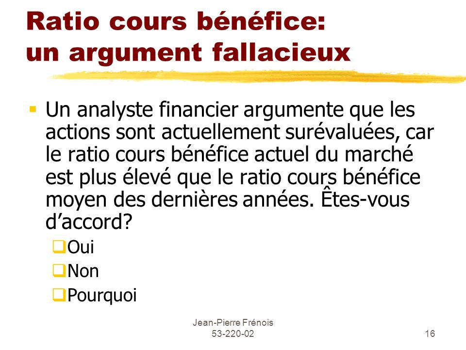 Ratio cours bénéfice: un argument fallacieux
