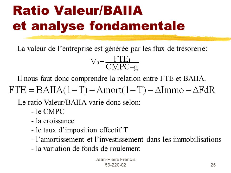 Ratio Valeur/BAIIA et analyse fondamentale