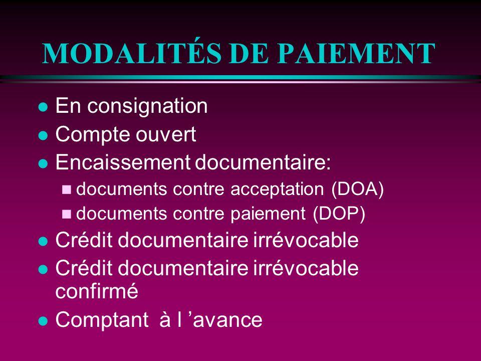 MODALITÉS DE PAIEMENT En consignation Compte ouvert