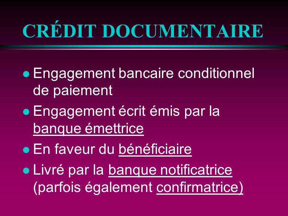 CRÉDIT DOCUMENTAIRE Engagement bancaire conditionnel de paiement
