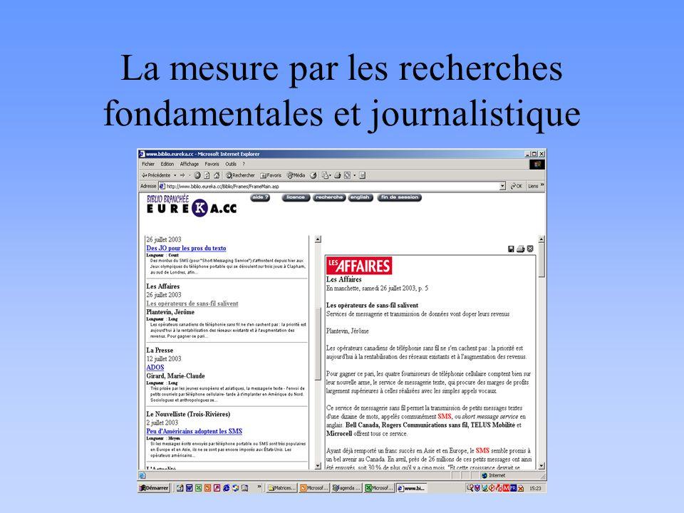 La mesure par les recherches fondamentales et journalistique
