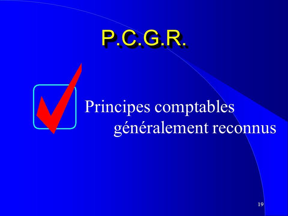 P.C.G.R. Principes comptables généralement reconnus
