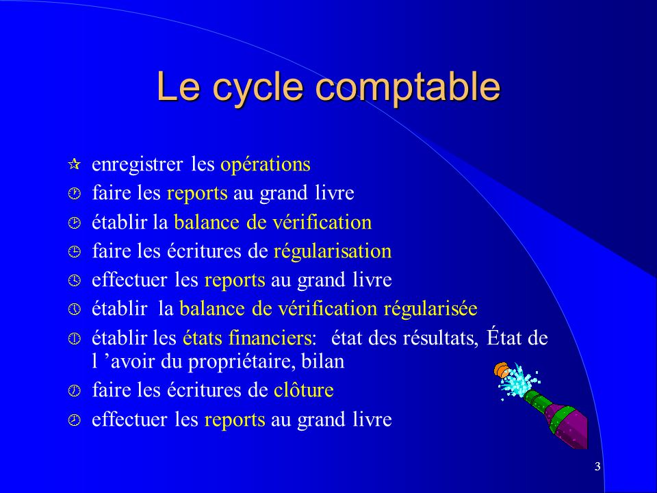 Le cycle comptable enregistrer les opérations