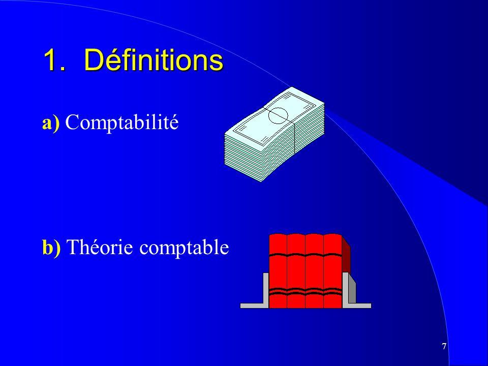 1. Définitions a) Comptabilité b) Théorie comptable