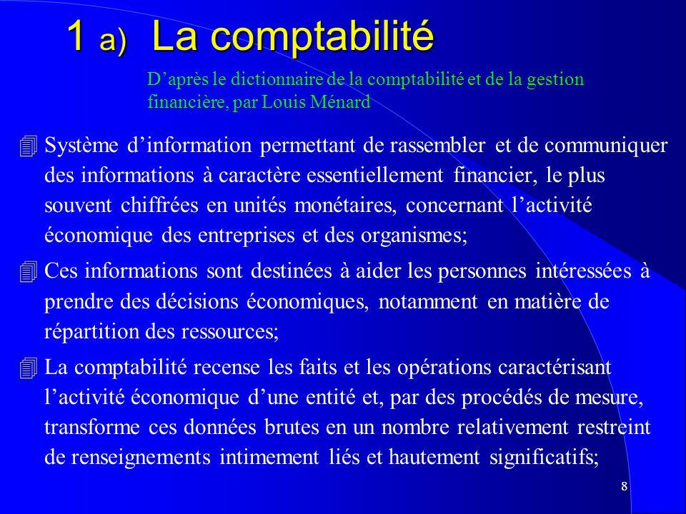 1 a) La comptabilité D'après le dictionnaire de la comptabilité et de la gestion financière, par Louis Ménard.