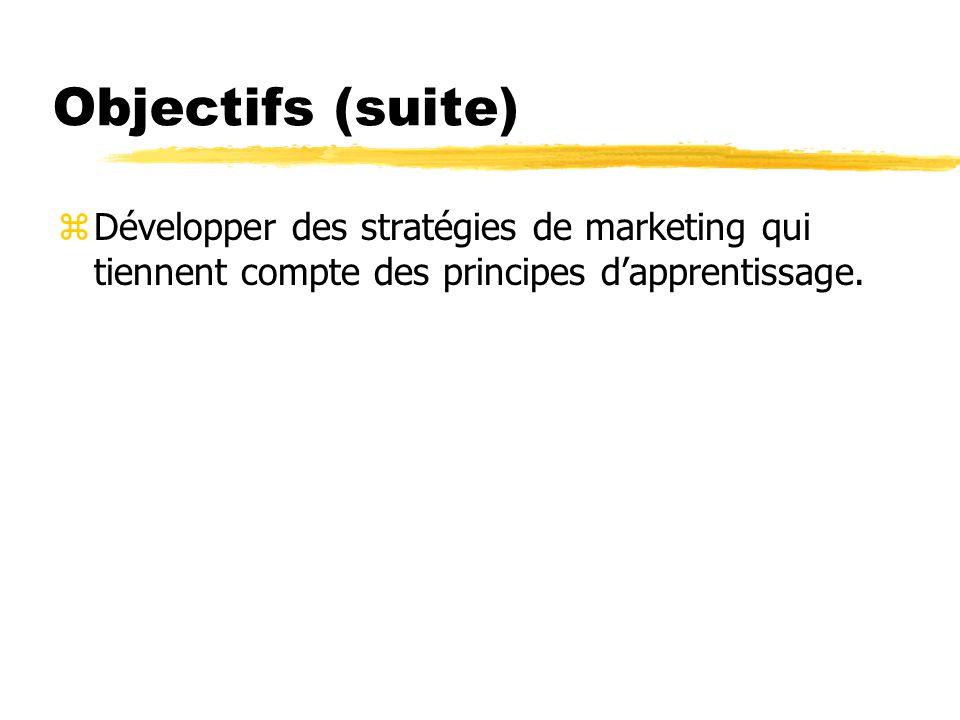 Objectifs (suite) Développer des stratégies de marketing qui tiennent compte des principes d'apprentissage.
