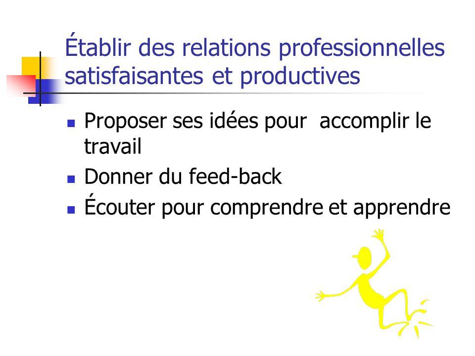 Établir des relations professionnelles satisfaisantes et productives