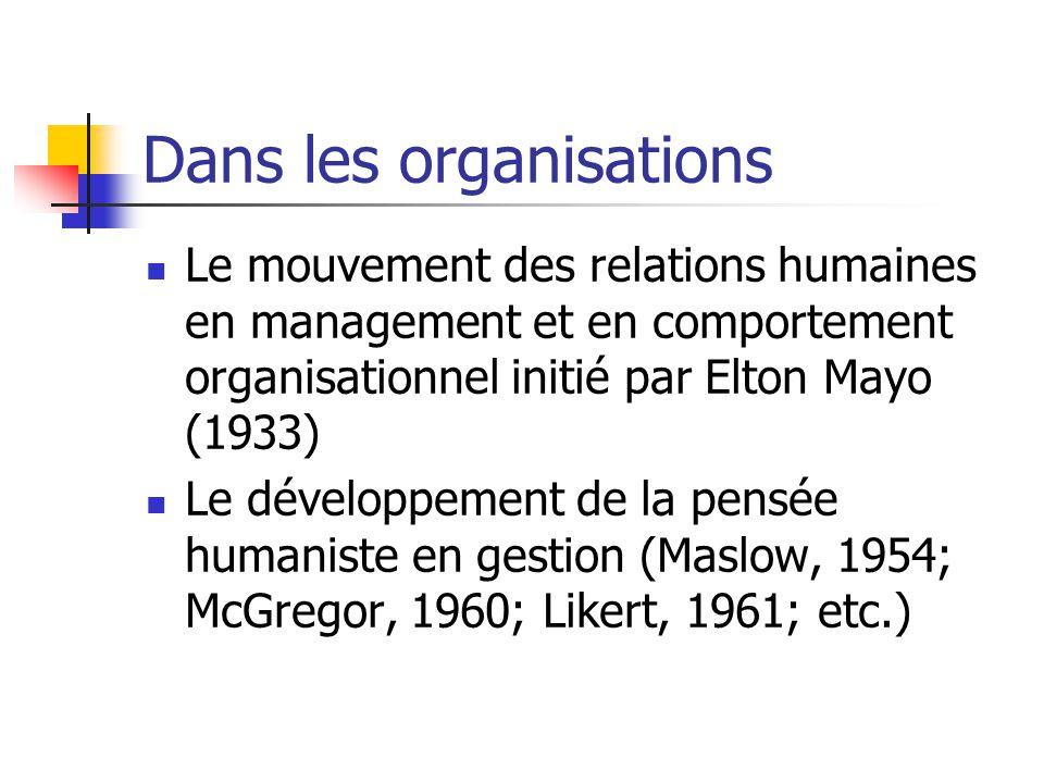 Dans les organisations