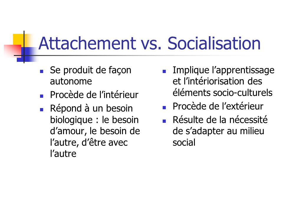 Attachement vs. Socialisation