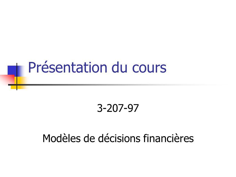 3-207-97 Modèles de décisions financières