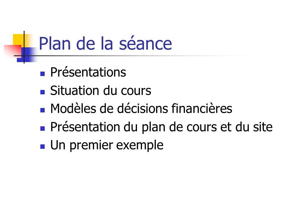 Plan de la séance Présentations Situation du cours