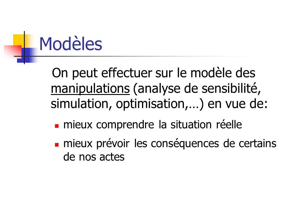 Modèles On peut effectuer sur le modèle des manipulations (analyse de sensibilité, simulation, optimisation,…) en vue de: