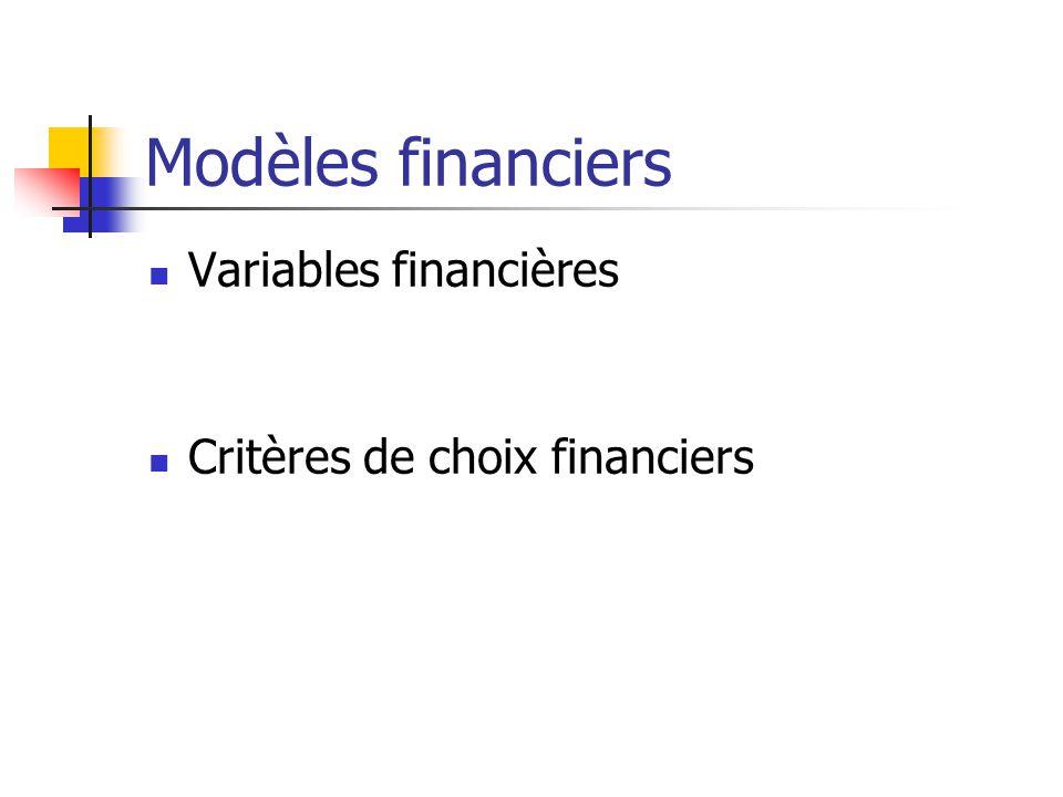 Modèles financiers Variables financières Critères de choix financiers