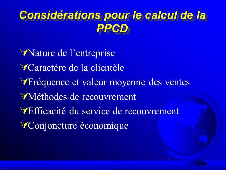 Considérations pour le calcul de la PPCD