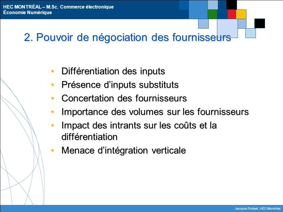 2. Pouvoir de négociation des fournisseurs