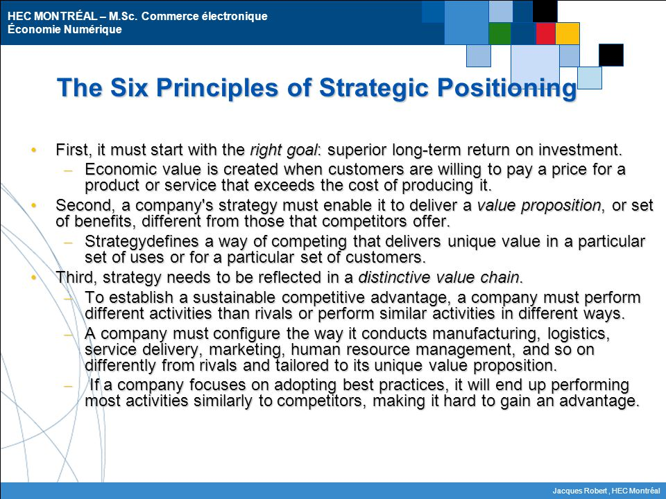 The Six Principles of Strategic Positioning