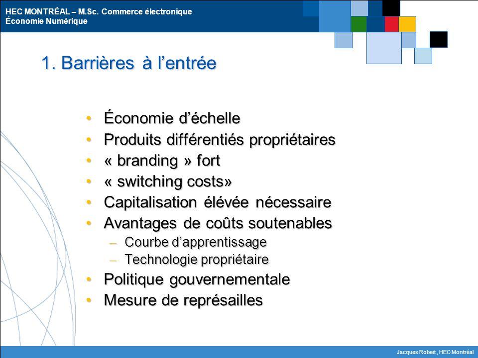 1. Barrières à l'entrée Économie d'échelle
