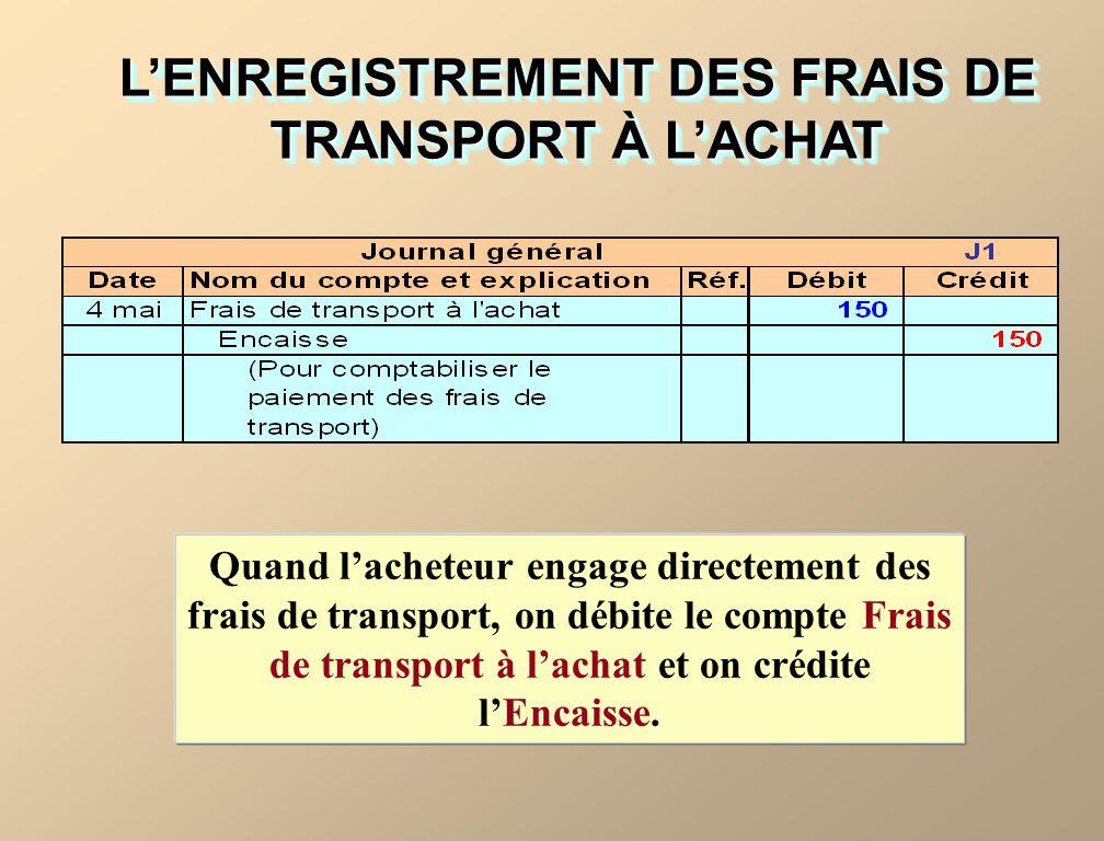 L'ENREGISTREMENT DES FRAIS DE TRANSPORT À L'ACHAT
