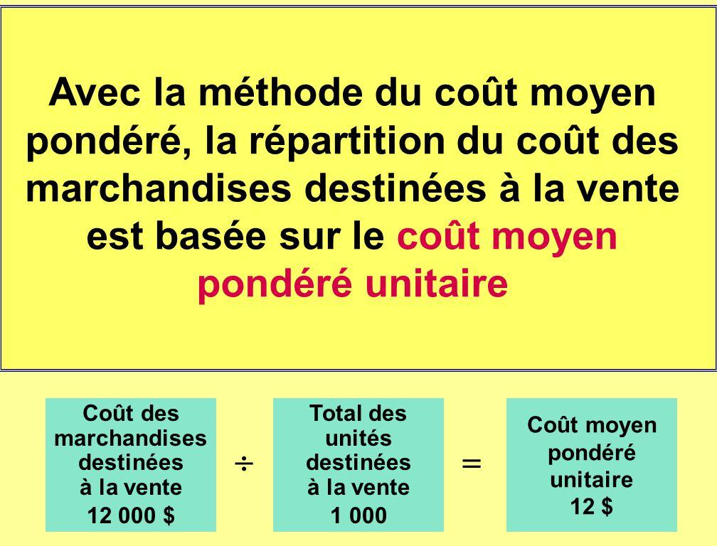 Avec la méthode du coût moyen pondéré, la répartition du coût des marchandises destinées à la vente est basée sur le coût moyen pondéré unitaire