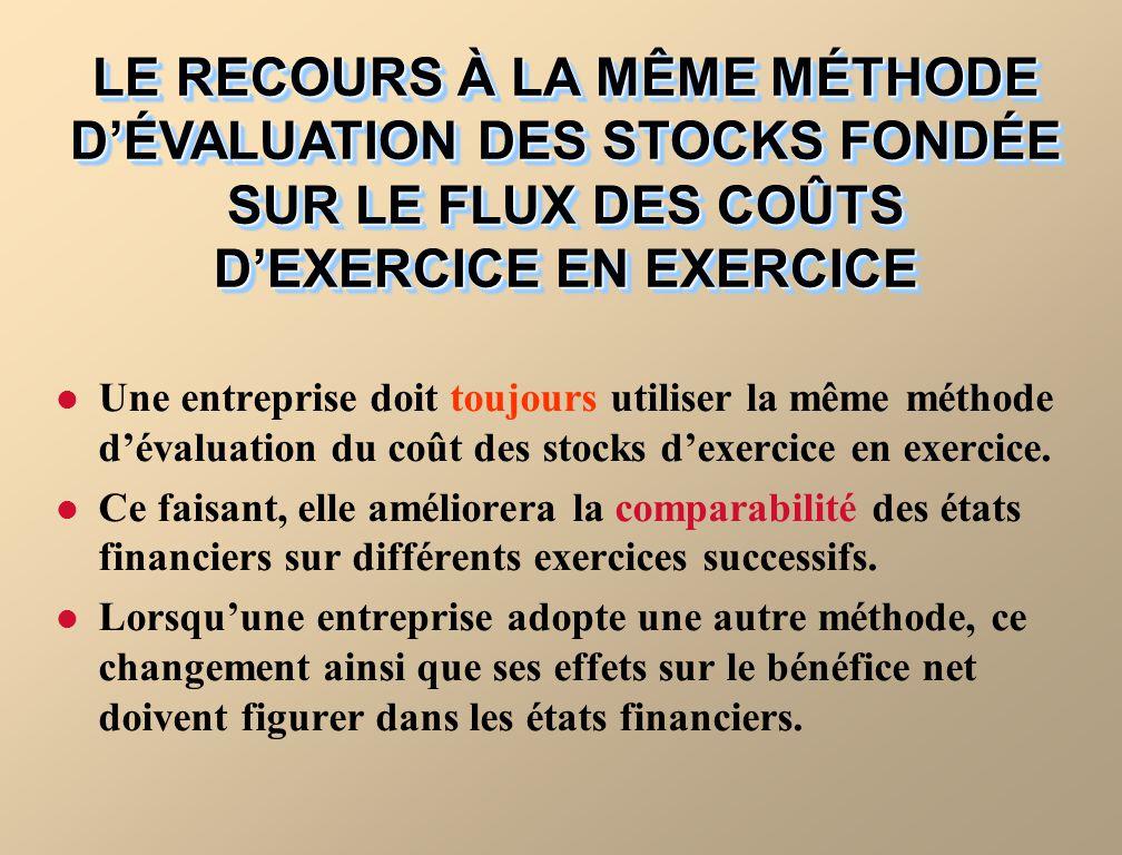 LE RECOURS À LA MÊME MÉTHODE D'ÉVALUATION DES STOCKS FONDÉE SUR LE FLUX DES COÛTS D'EXERCICE EN EXERCICE