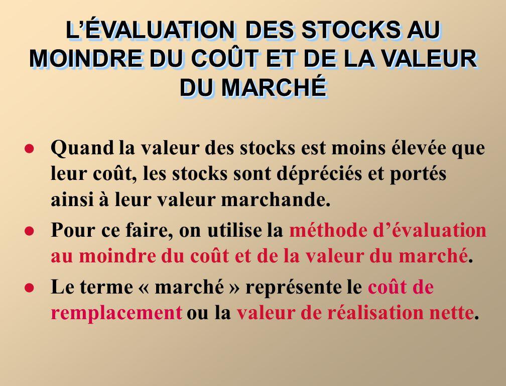 L'ÉVALUATION DES STOCKS AU MOINDRE DU COÛT ET DE LA VALEUR DU MARCHÉ