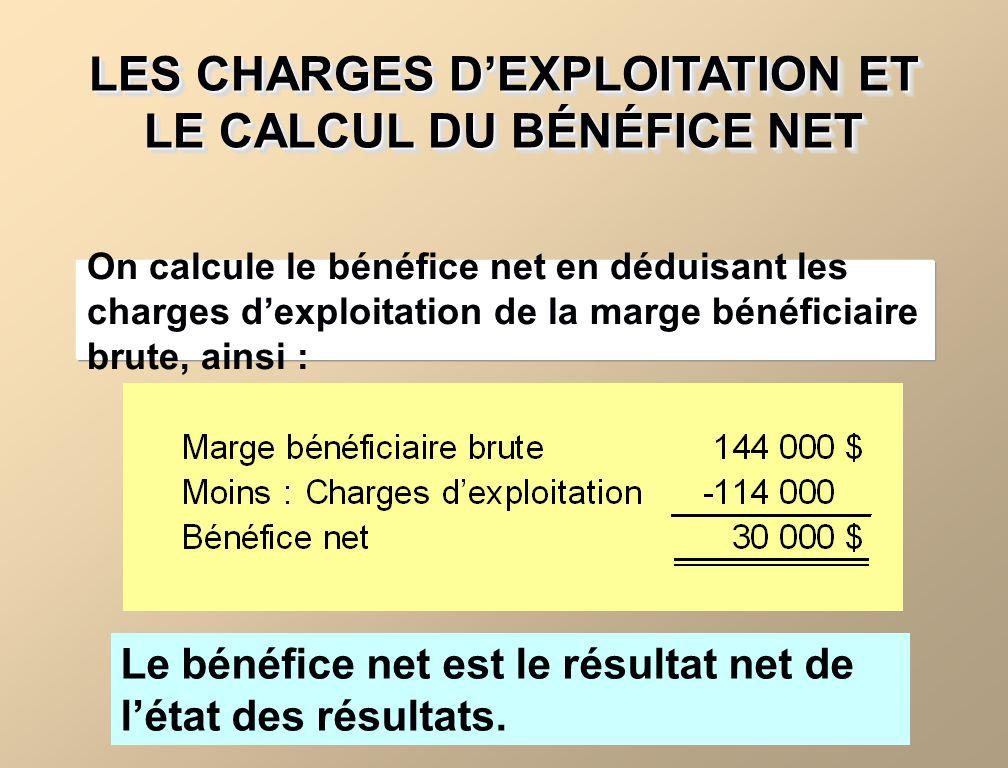 LES CHARGES D'EXPLOITATION ET LE CALCUL DU BÉNÉFICE NET