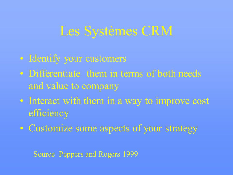 Les Systèmes CRM Identify your customers