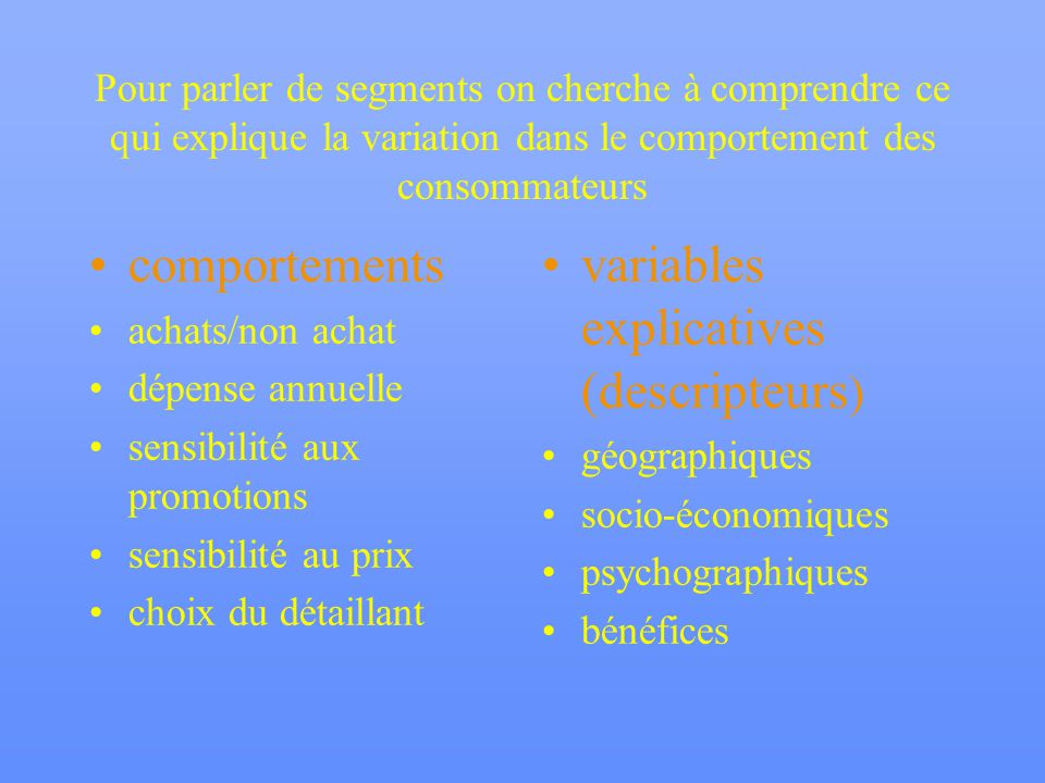 variables explicatives (descripteurs)