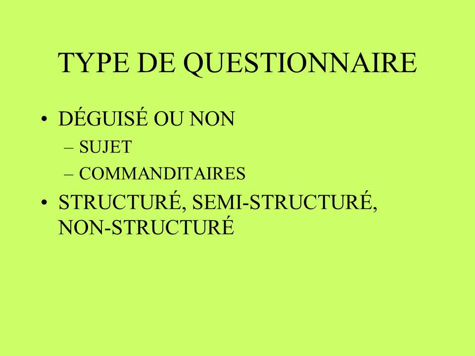 TYPE DE QUESTIONNAIRE DÉGUISÉ OU NON