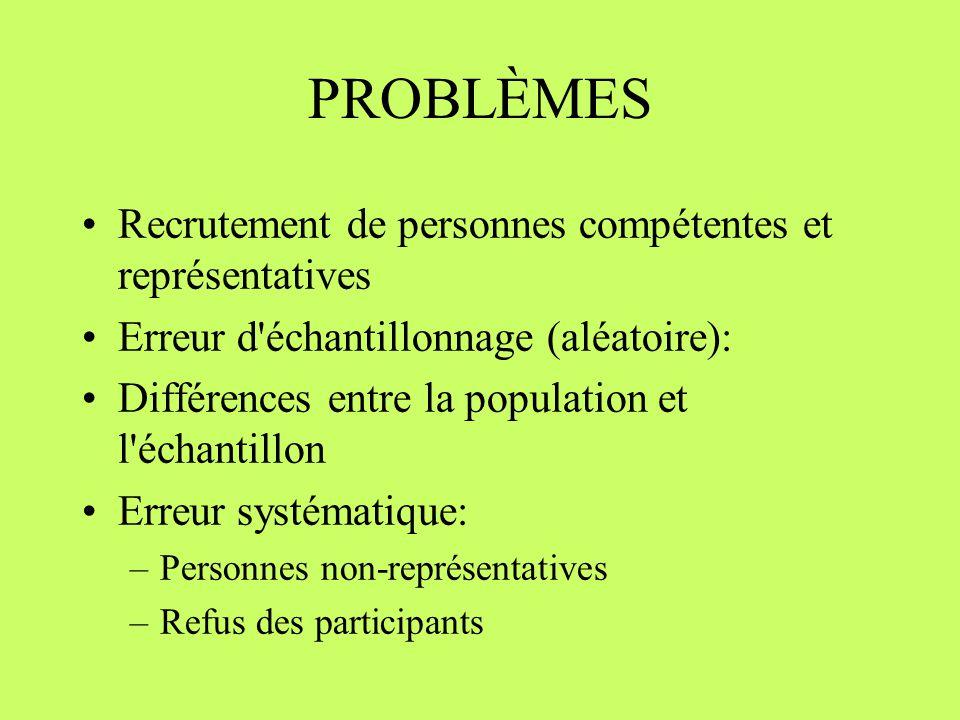 PROBLÈMES Recrutement de personnes compétentes et représentatives